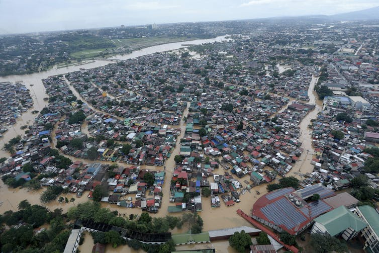Floodwaters inundate Manila suburbs in November 2020 following Typhoon Vamco.