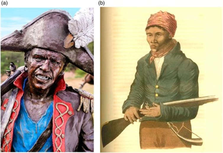 Two images of historical black figures, one in an elaborate hat and coat as part of a bronze sculpture and the other simply dressed and peasant-like and holding a gun.