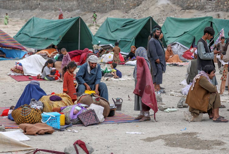 Internally displaced families in a park in Kabul.