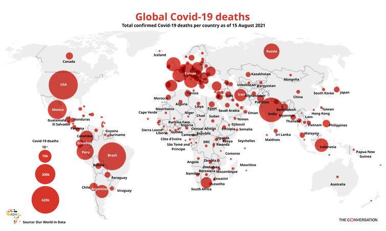 Global map of confirmed COVID-19 deaths