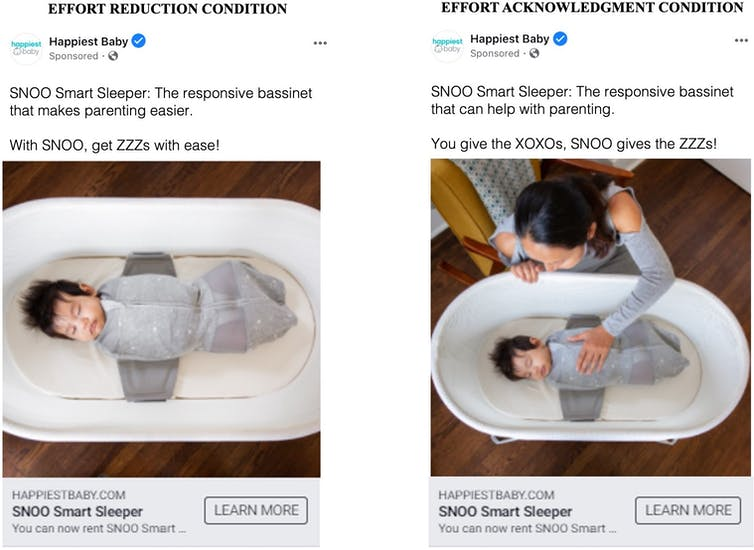 Two similar tweets are shown side by side, the one on the left emphasizing how a SNOO smart crib will reduce effort, the one on the right emphasizing the role of the parent