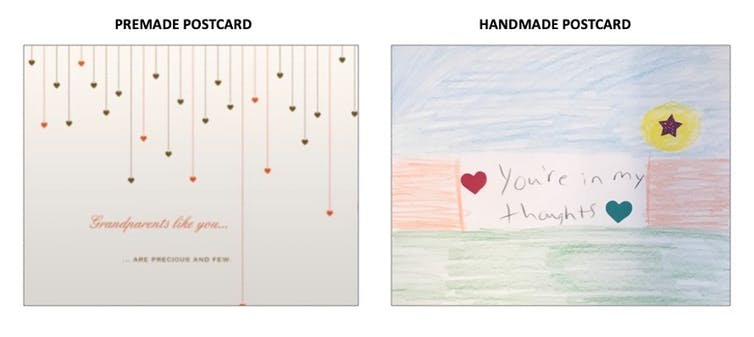 The front of two cards shown side by side, the one on the left is premade, the one on right is handmade with the words 'you're in my thoughts' written in pencil and stickers of two hearts and a star