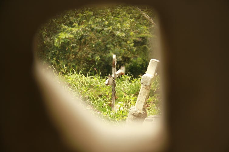 A view through an opening shows an overgrown field with two crosses leaning at angles.