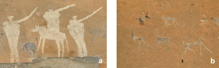 Paintings showing very simple images of humans and the animals in black paint.