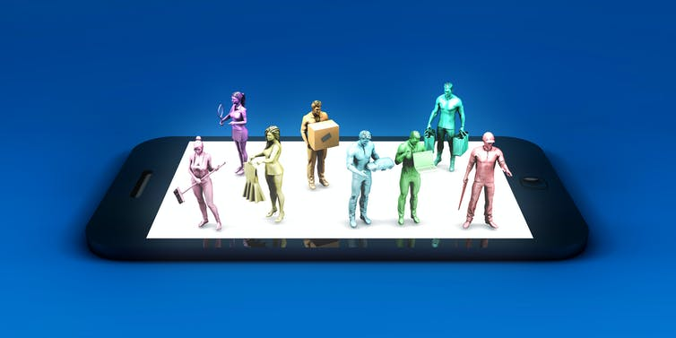 Image construct of miniature gig workers on a smart phone.