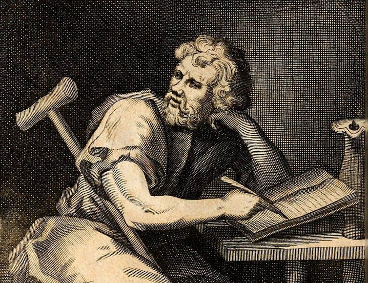 sketch of man at desk