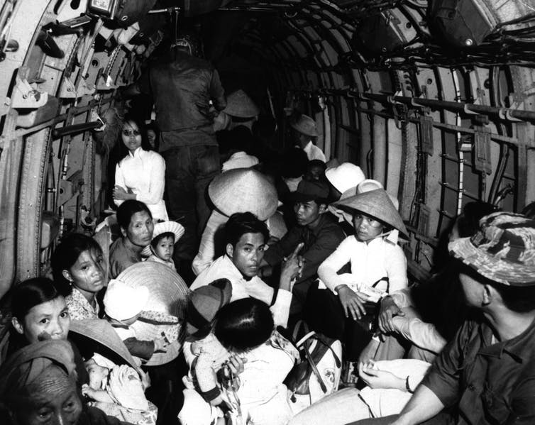 Vietnamese refugees on an Air Force helicopter