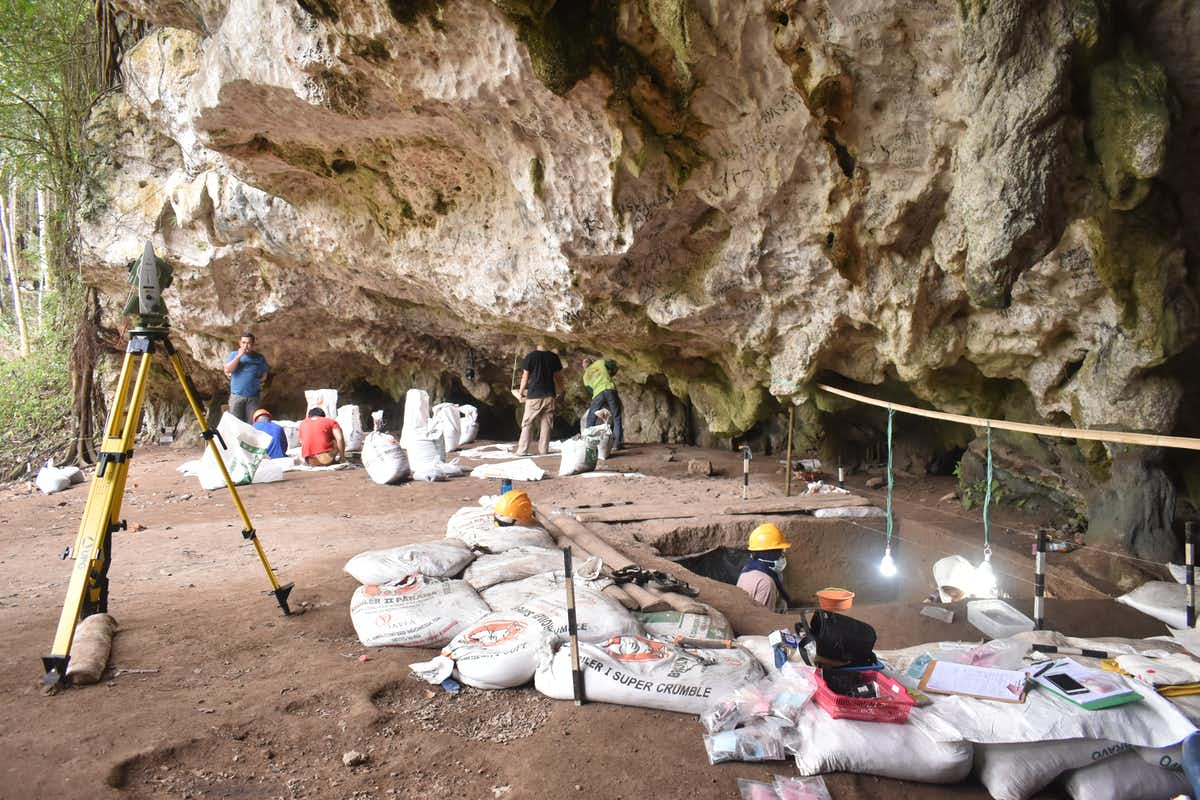 Excavations at Leang Panninge cave, Mallawa, South Sulawesi. Leang Panninge Research Team.