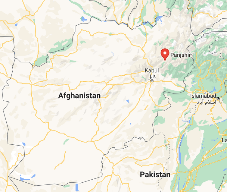 Detail of the map of Afghanistan showing the location of Panjshir province