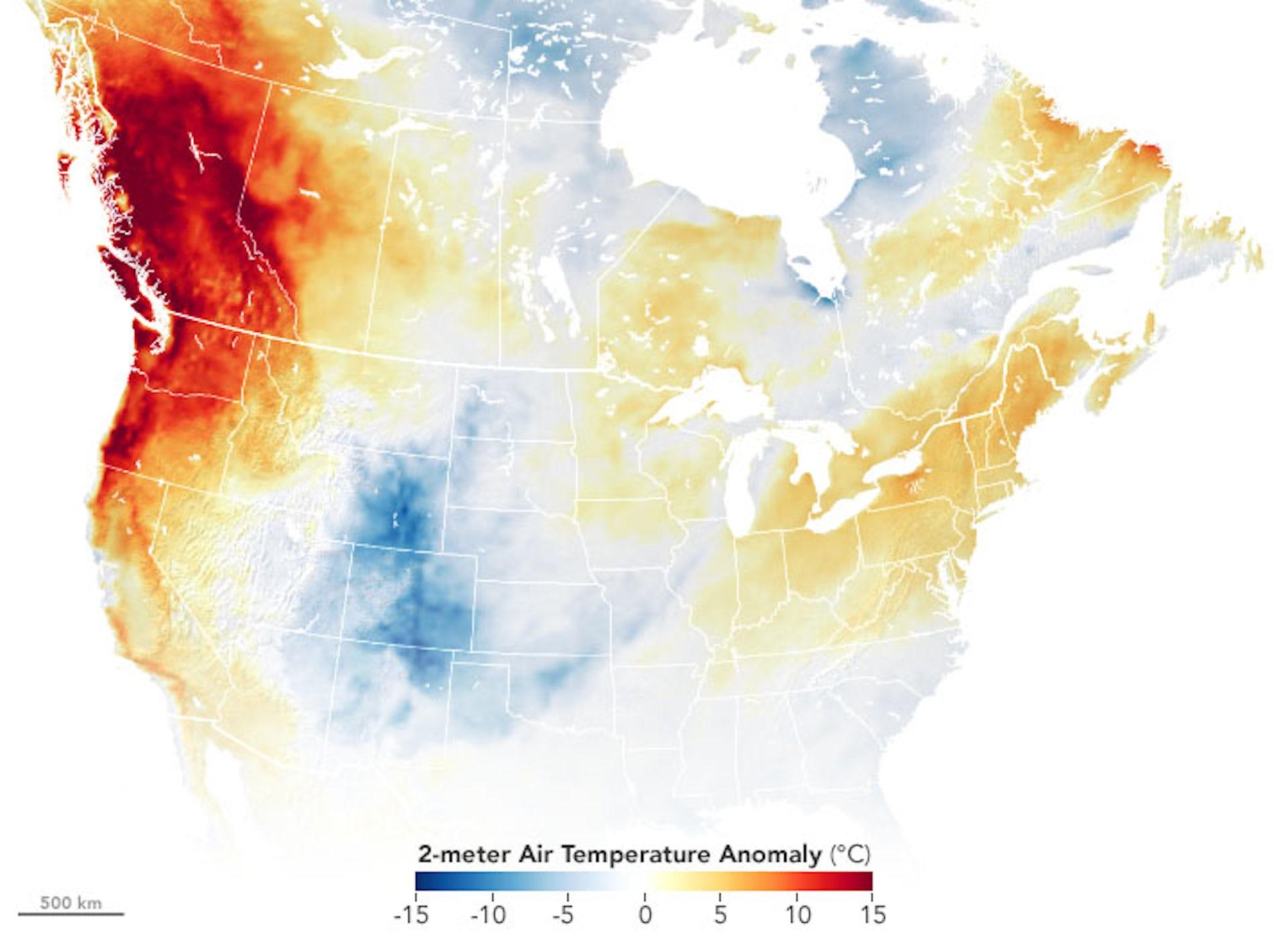 A onda de calor extrema no noroeste do Pacífico em junho de 2021 enviou temperaturas mais de 27 F (15 C) acima do normal em algumas áreas. NASA Earth Observatory