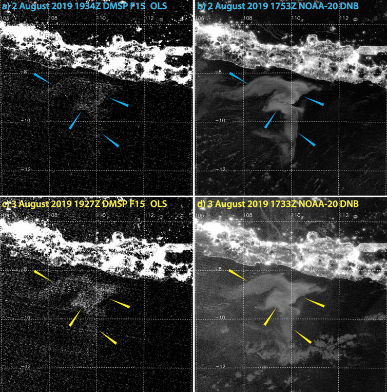 Two satellite images of Java showing a large question mark-shaped area of light-colored sea surface.