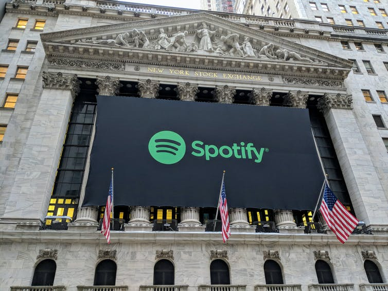 Spotify banner on New York Stock Exchange