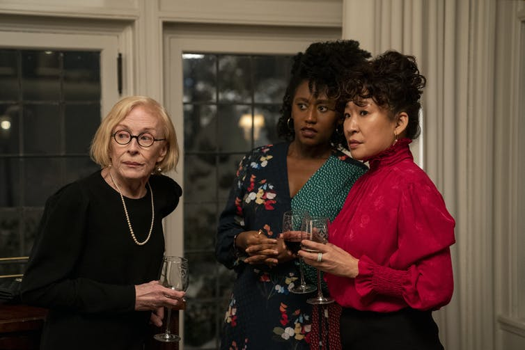 Holland Taylor, Nana Mensah and Sandra Oh in a scene from The Chair