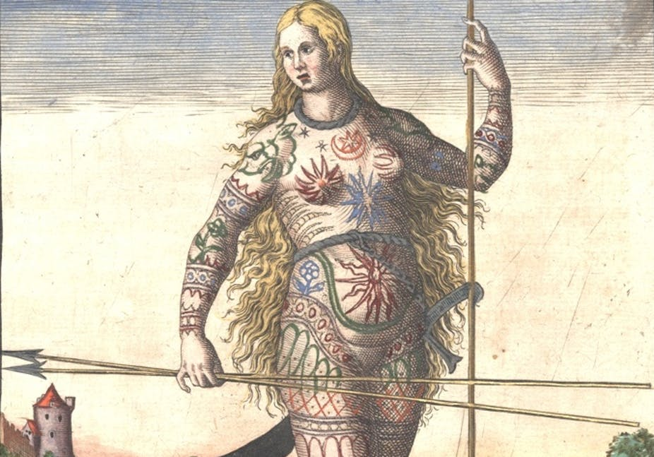 Flemish-born engraver and publisher, Theodor de Bry's engraving of a Pict woman, whose body is covered with tattoos.