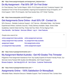 google search results for online assignment writing services