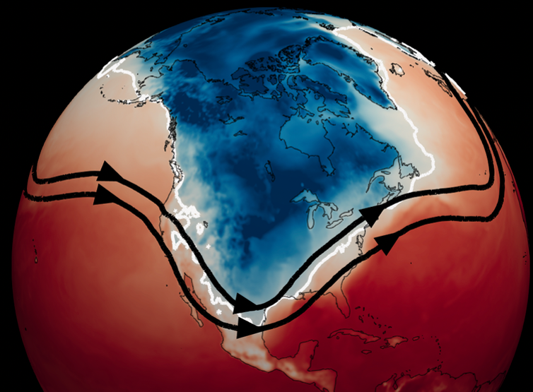 Images of the globe centered on North America shows a large cold blob over much of the continent.
