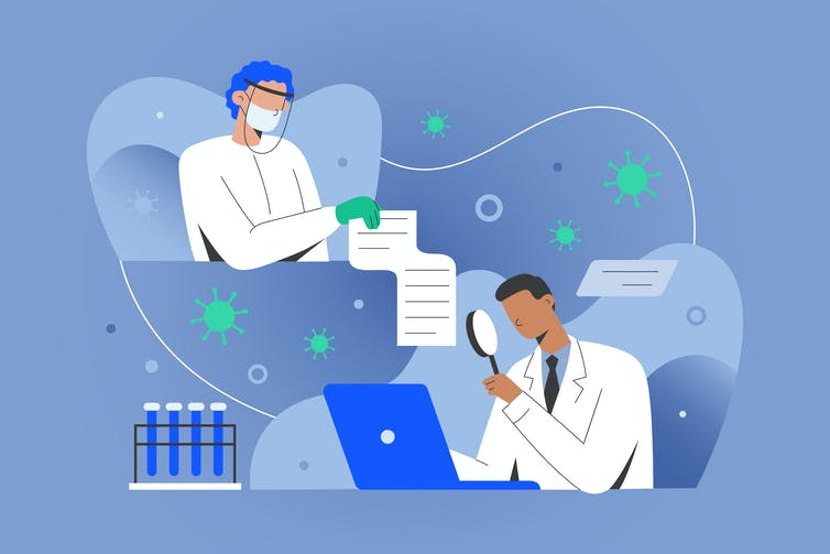 A drawing of a medical doctor sharing data with a researcher