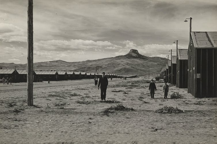 A black and white image of a desolate landscape with rows of buildings stretching into the distance and a mountain on the horizon.