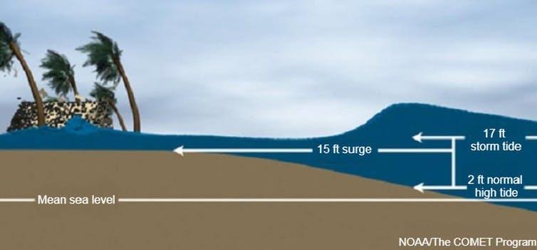 An illustration shows how higher tides raise storm surge levels.