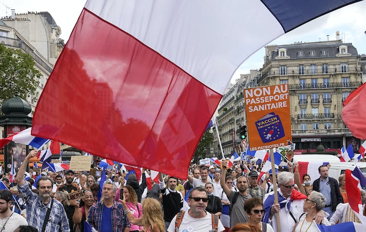 A demonstration against the COVID-19 pass in in Paris on July 31 2021.