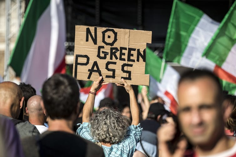 A protest against the Green Pass vaccine passport in Rome on August 7 2021.