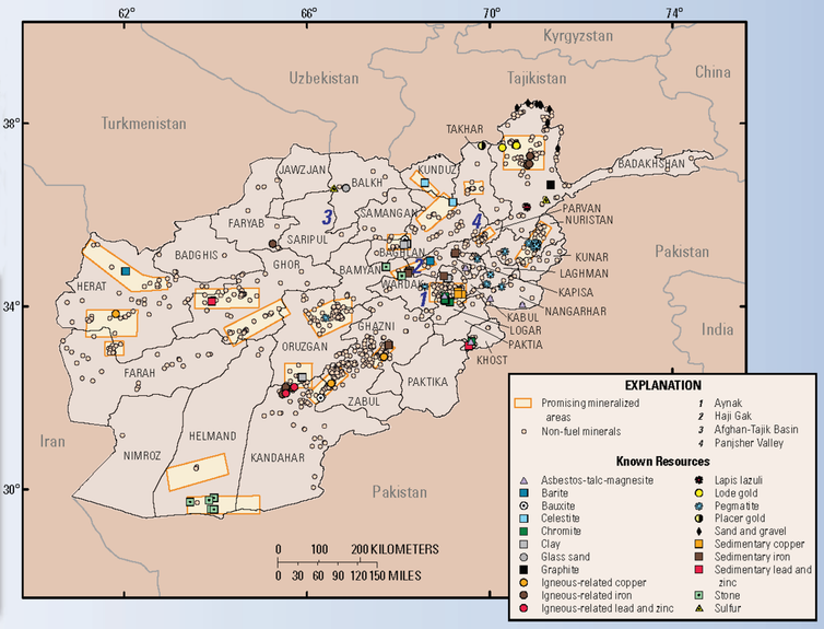 map of Afghanistan mineral resources done by the USGS