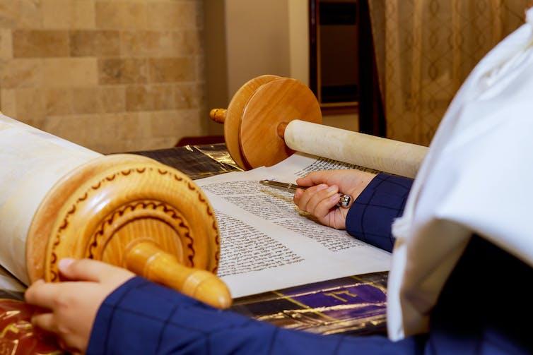 View of theTorah at a synagogue.