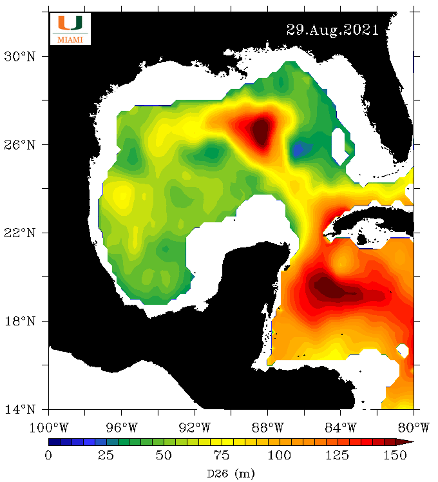 Map of surface temperatures.