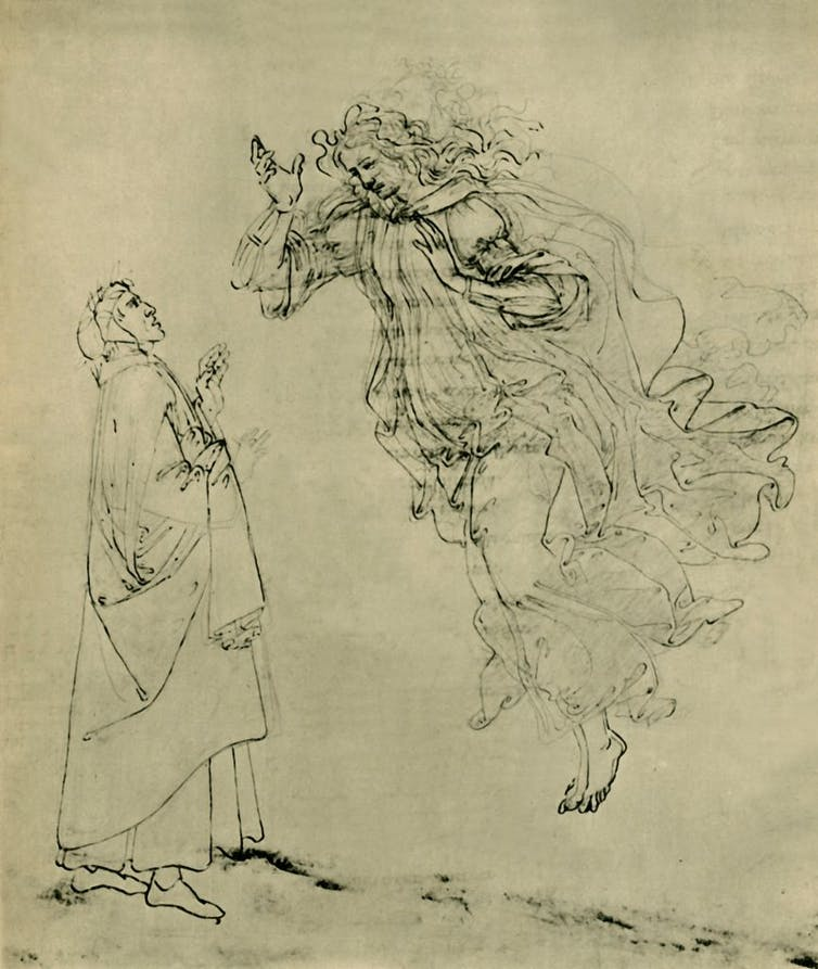 Drawing of a woman floating before a surprised man.