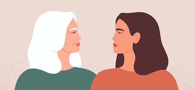 a cartoon of an older and younger woman looking at each other.