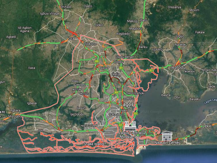 A satellite view of Lagos on Google Maps