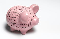A piggy bank is divided into categories of spending, such as mortgage, car and food.