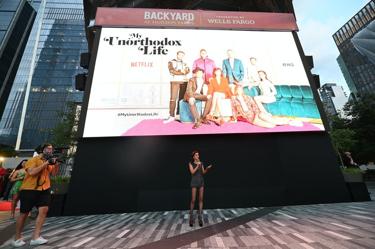 Julia Haart speaks to the audience at the July 15, 2021, premiere of the Netflix series 'My Unorthodox Life,' at Hudson Yards in New York City.