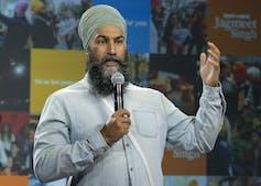 Jagmeet Singh participates in a virtual town hall meeting.