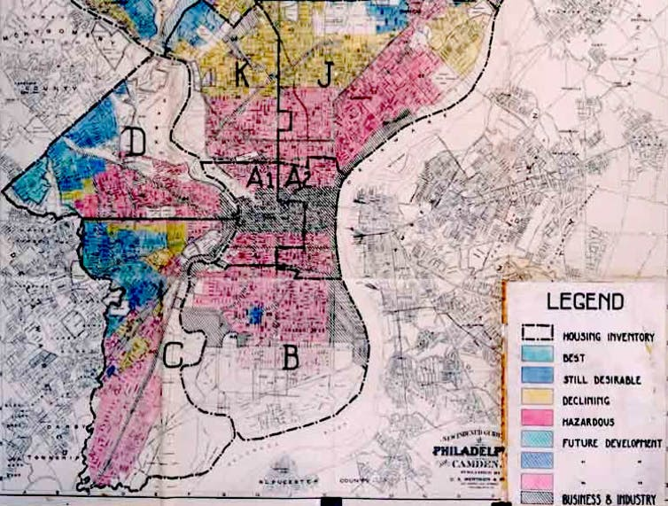 Map showing color-coded neighborhoods.