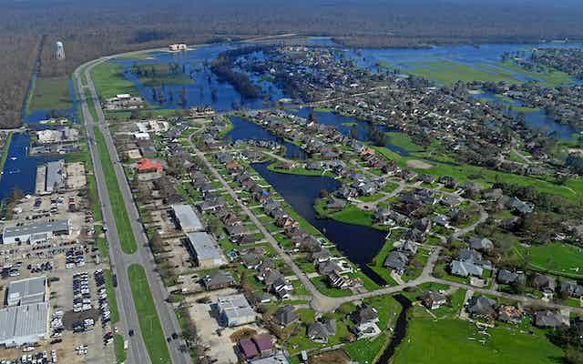 Aerial of Hurricane Ida damage in southeast Louisiana