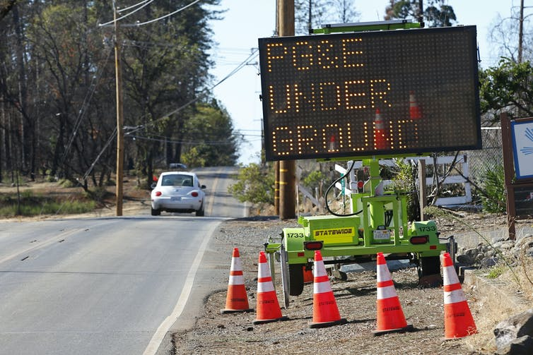 Roadside construction in Paradise, Calif. where utility is moving power lines underground.