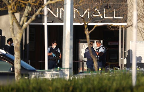 Police outside LynnMall,. where a terrorist attack happened