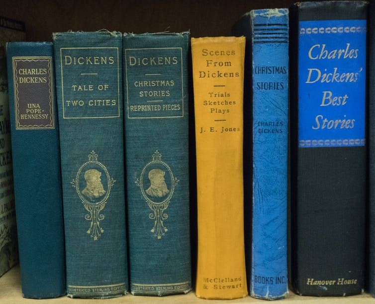 A row of books by Charles Dickens
