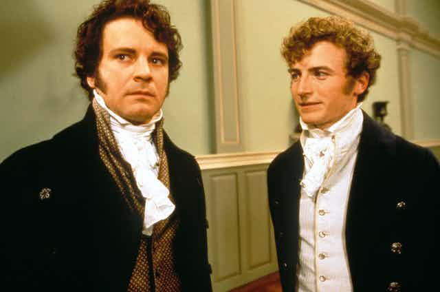 Actors from the TV adaptation of Pride and Prejudice, wearing 19th century costume