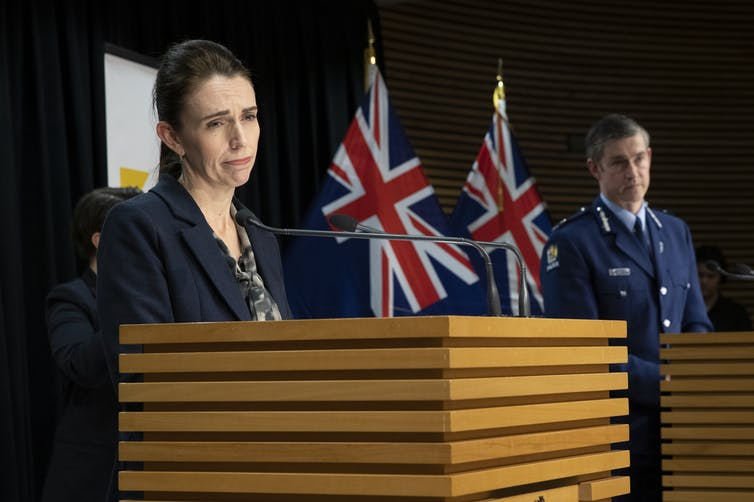 Prime Minister Jacinda Ardern and Police Commissioner Andrew Coster during a media conference.