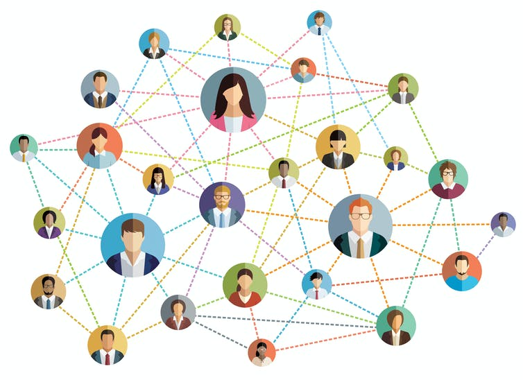 Image of a network with office workers as nodes