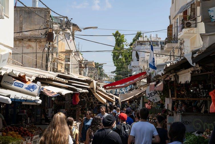 A crowded market in Tel Aviv