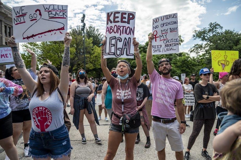 Manifestation en défense du droit à l'avortement à Austin, Texas, le 29 juin 2021.