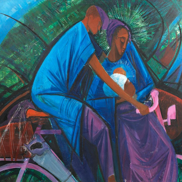 A painting of a man and woman on a bicycle.