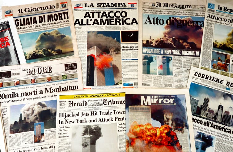 Front pages from around the world with headlines about 9/11.