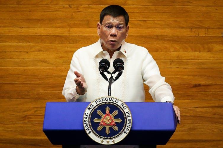 Philippine President Rodrigo Duterte delivers his State of the Nation Address (SONA) in Quezon City, Metro Manila, Philippines, 26 July 2021.