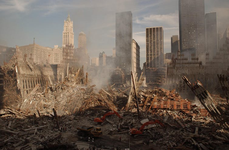 Panoramic photograph of Ground Zero, the site of the World Trade Center, the day after 9/11.