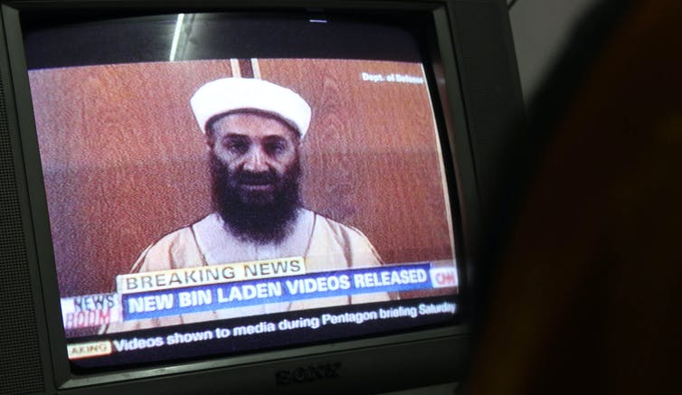 TV scren with an image of al-Qaida chief Osama Bin Laden.