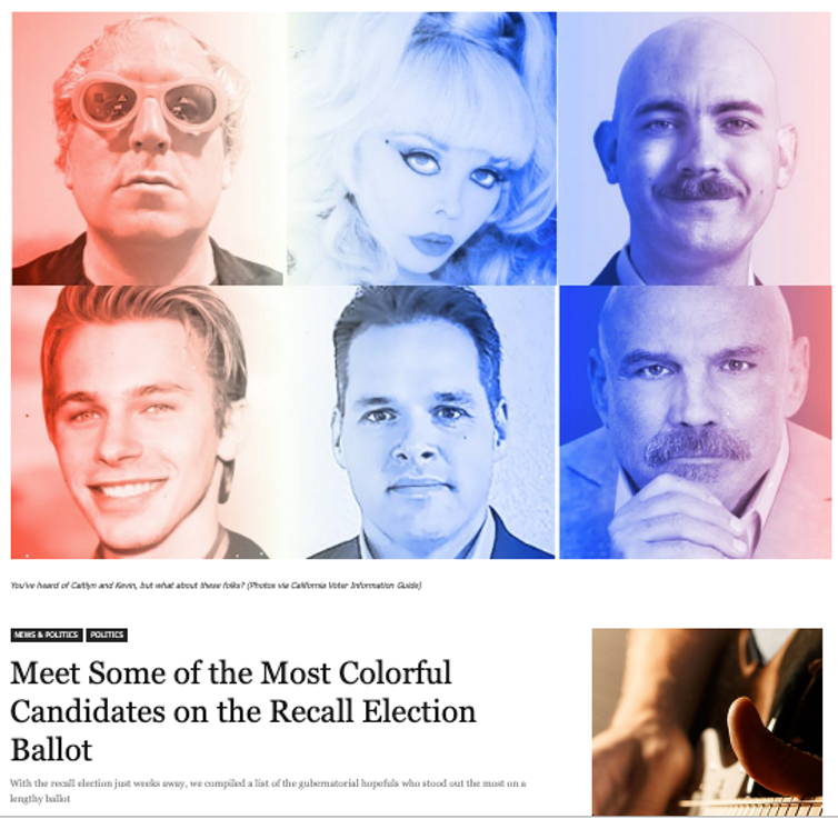 Six photos of candidates in a magazine story about
